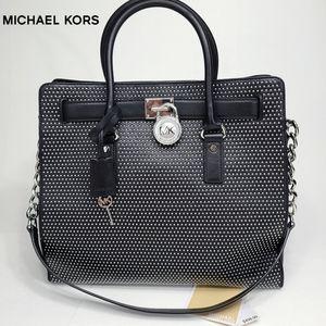 Michael Kors Microstud Hamilton LG NS Leather Tote